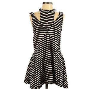 Free People Layered Cut Out Striped Dress • S